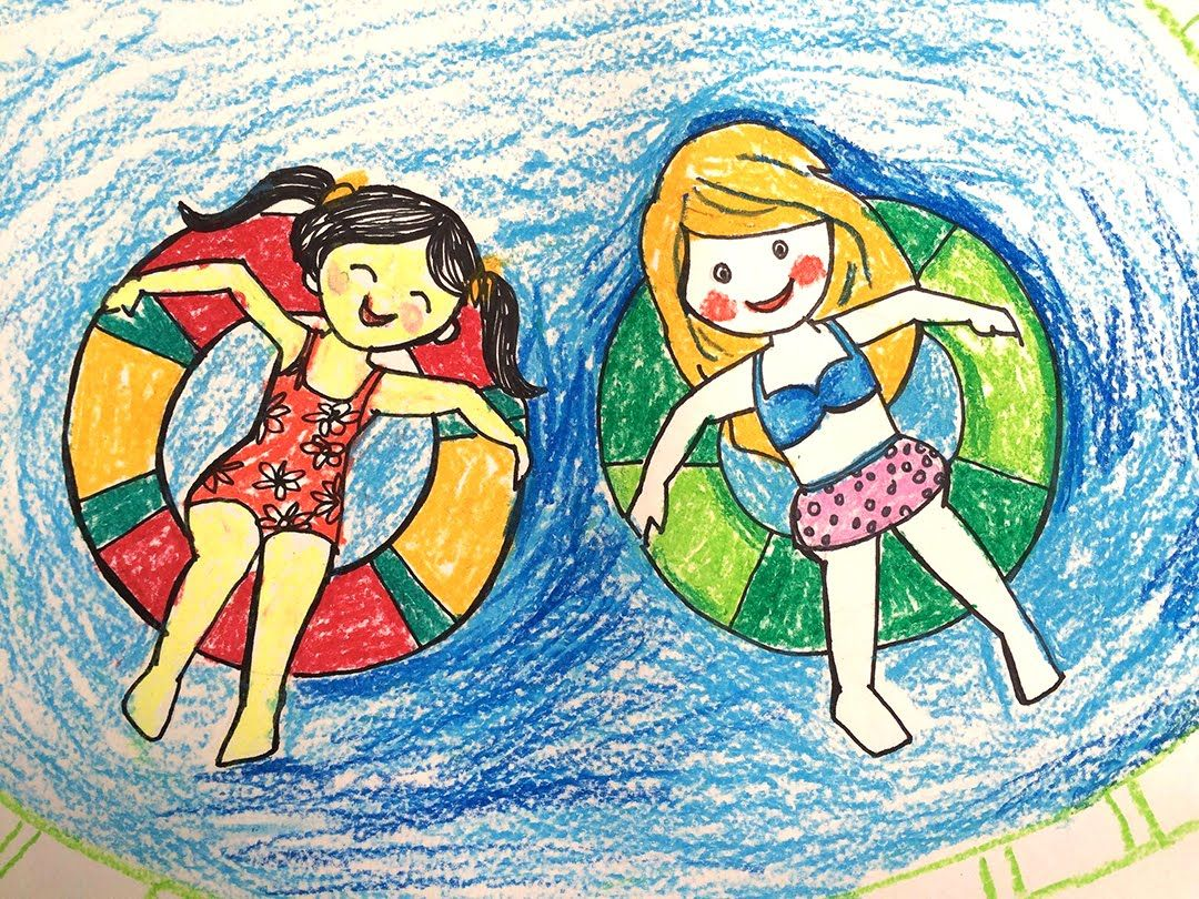 Painting summer for kids | How to draw a swimming pool step ...