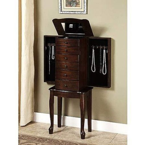 Mirrored Jewelry Armoire Box Organizer Tall Stand Up Vintage Cabinet