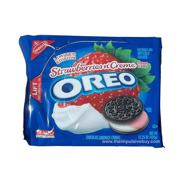 REVIEW Limited Edition Strawberries n' Creme Oreo ❤ liked on Polyvore featuring food, food and drink, comida and fillers