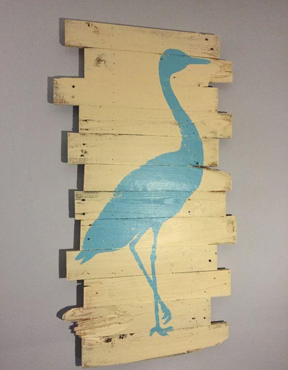 Nautical Themed Wall Art Blue Crane on Cream Reclaimed Wood 24\