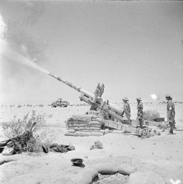 A British 4 5-inch field gun in action south of El Alamein