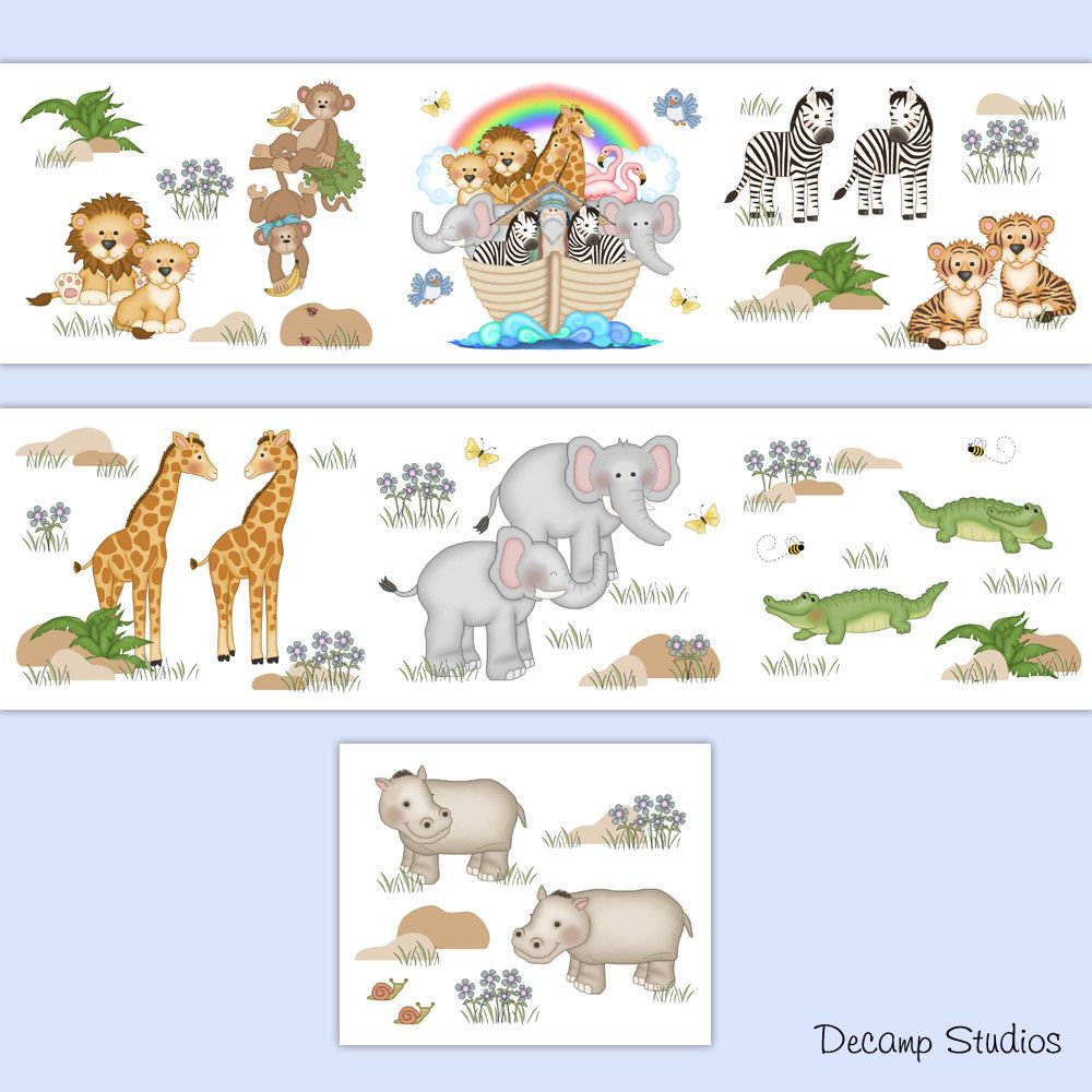 Noahs Ark Nursery Wallpaper Border Decals Wall Art Baby Safari Animals Stickers Safari Animals Nursery Noahs Ark Nursery Animal Kids Room