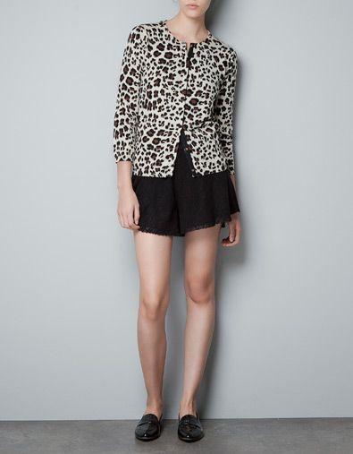 Leopard Woman Cardigan Zara United Knitwear Print dCoeExWQrB