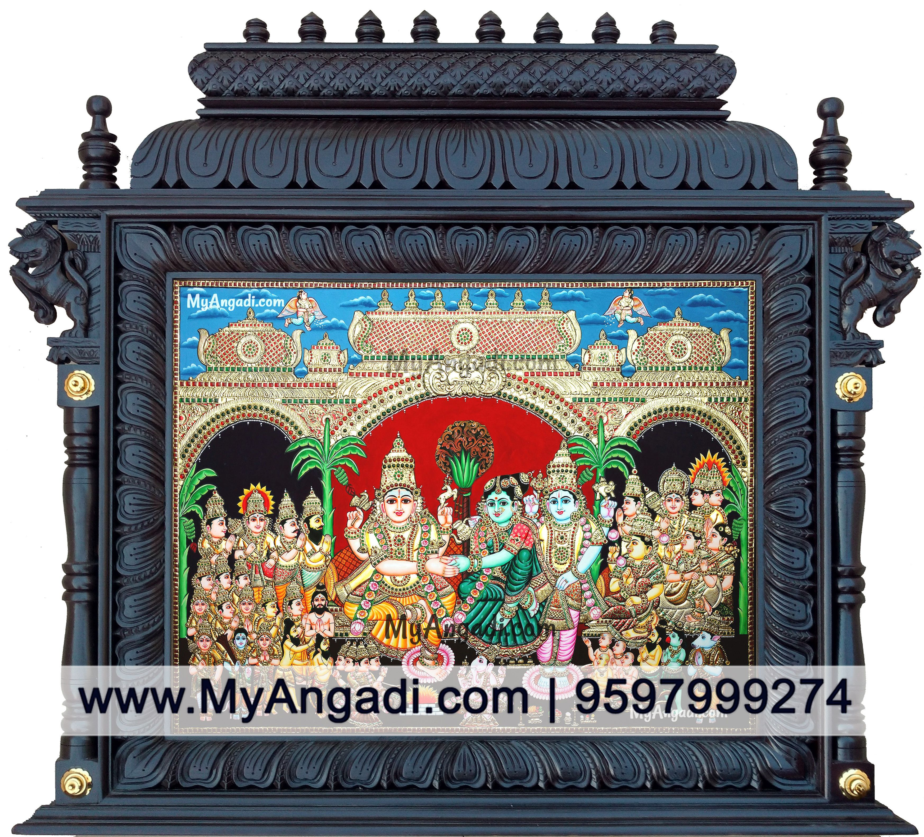 Girija Kalyanam Tanjore Painting In Temple Frame Specially