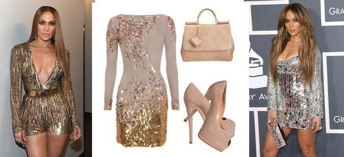 ▷ 1001 + Ideen für Silvester Outfit zum Faszinieren für Sie und Ihn #silvesteroutfitdamen silvester outfit damen die wie j lo aussehen wollen kurzes goldenes kleid mit beigen schuhen und tasche #silvesteroutfitdamen