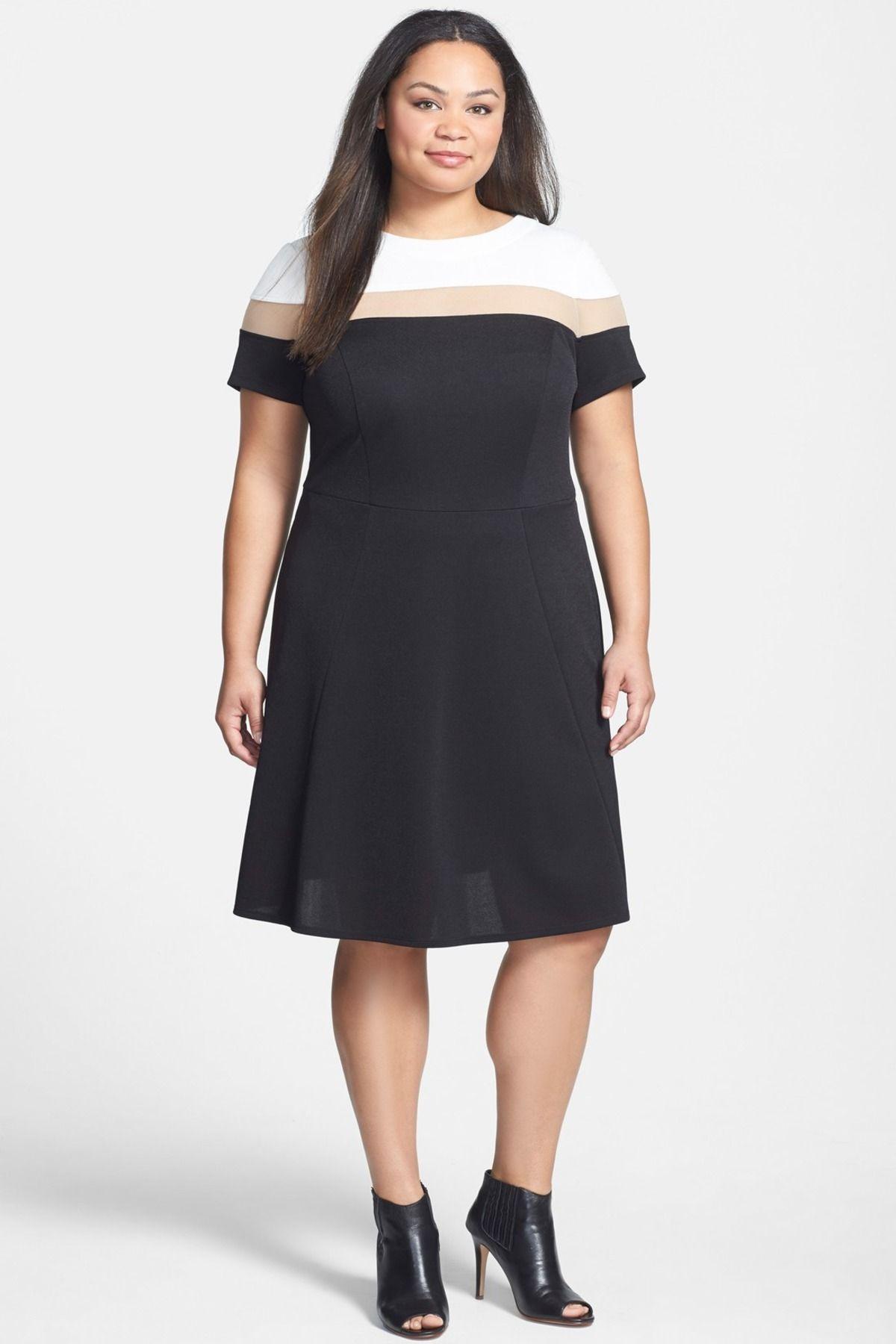 ABS Collection | Mesh Inset Colorblock Pique Knit Dress (Plus Size ...