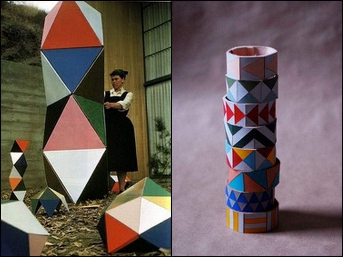 """Ray Eames with an early prototype version of """"The Toy"""", 1951"""