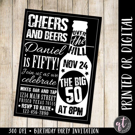 Cheers And Beers Invitation 50th Birthday Man Beer Ove