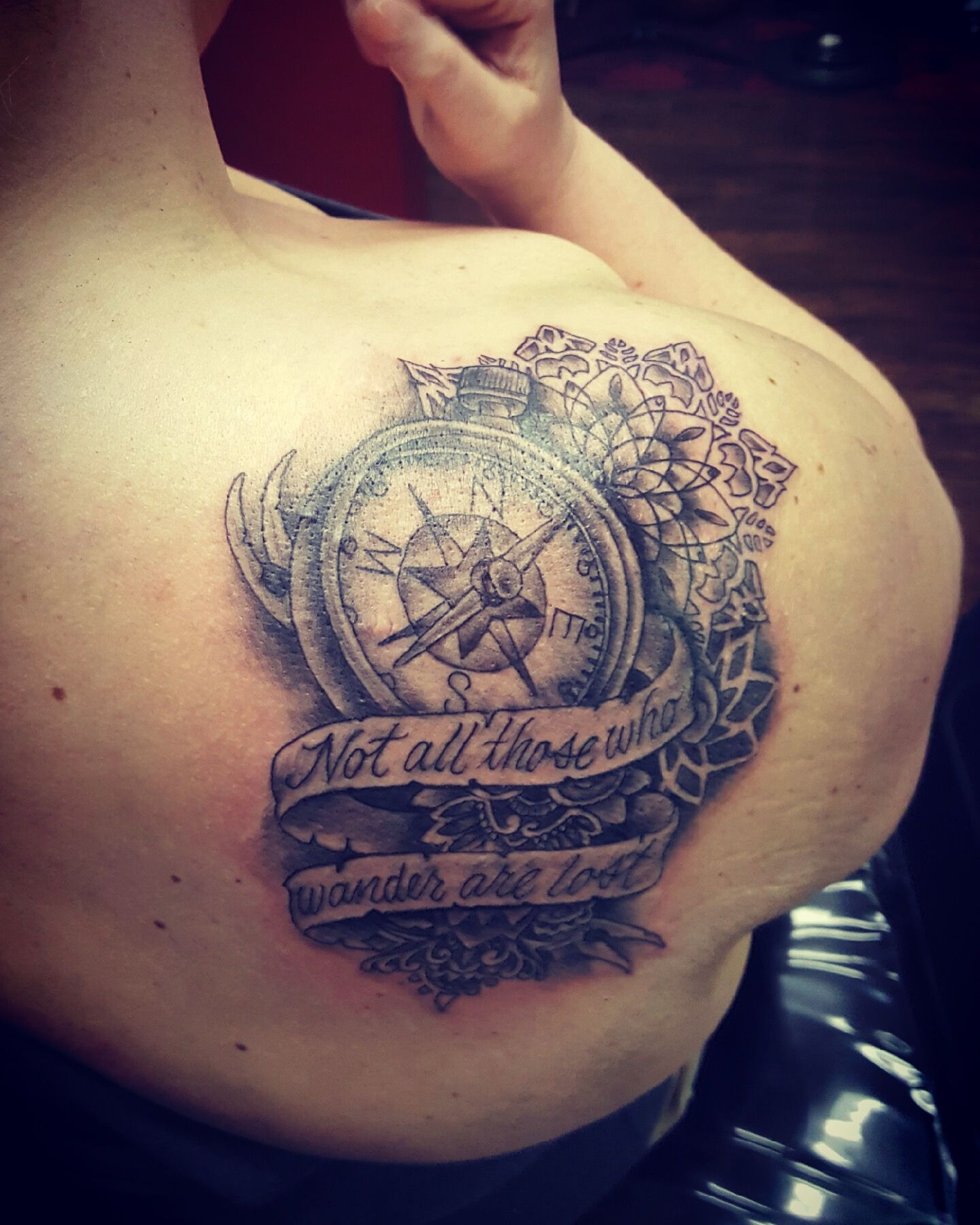 Not All Those Who Wander Are Lost Tattoo Compass Not All Those Who Wander Are Lost Tattoo Mandala Compass Epic Tattoos Ft Worth Tattoos For Guys Rose Tattoos For Men Sleeve Tattoos For Women