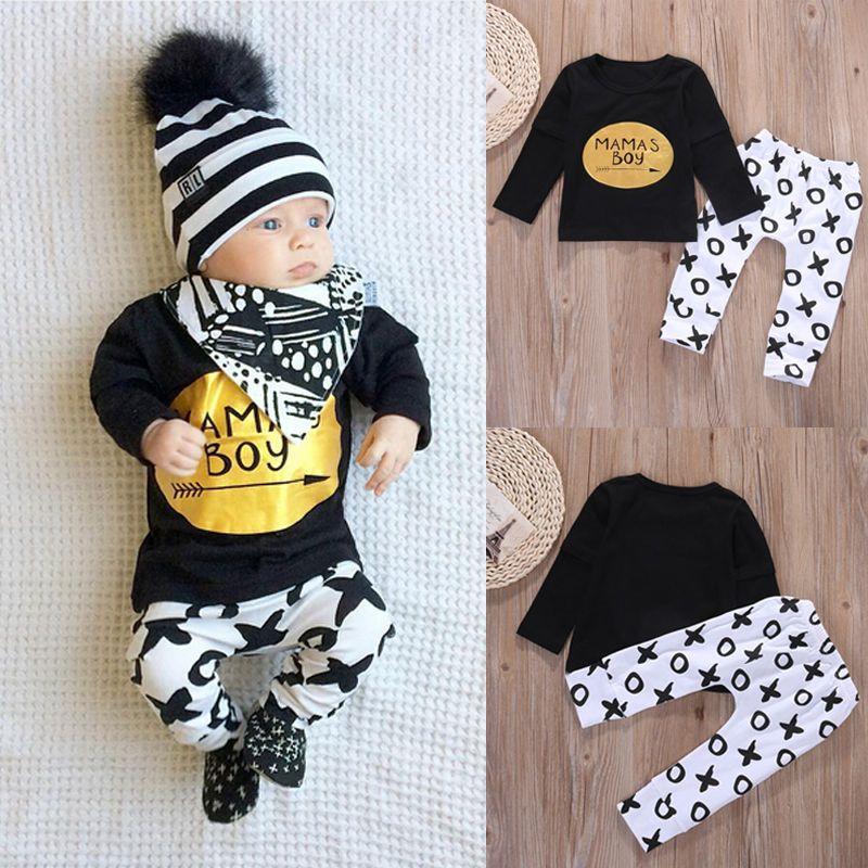 abc5a8cd9cd1 2pcs Newborn Baby Boys Clothes Set Gold Letter MAMAS BOY Outfit T ...