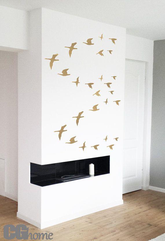 gold birds set of 26 golden birds nursery decoration wallsticker