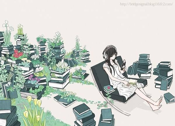 The Girl Among Many Books And Her Headphone