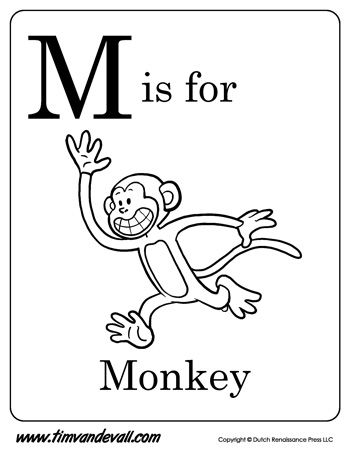 M is for Monkey  Letter M Coloring Page  Alphabet Book  Black