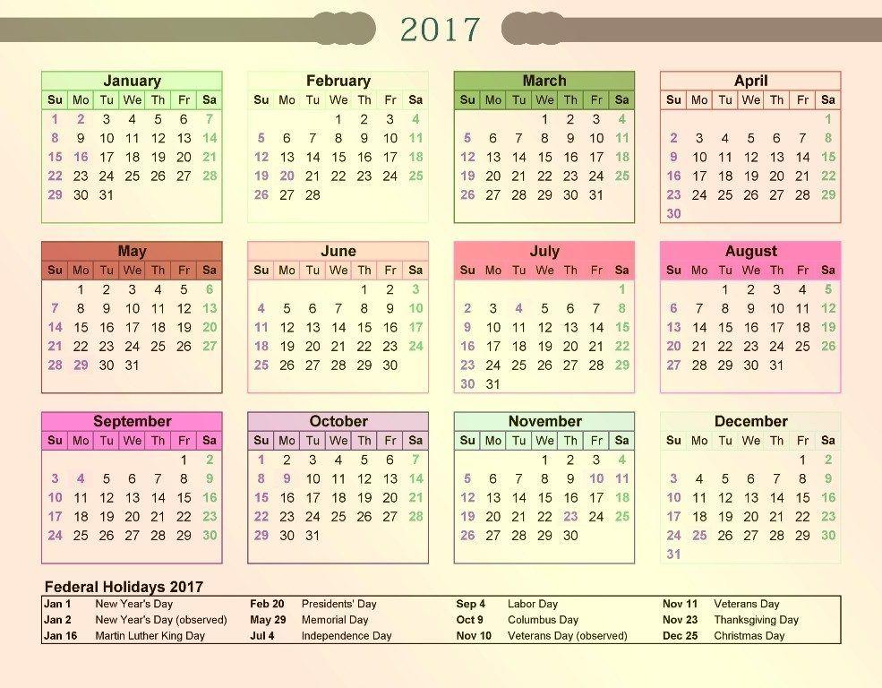 58 Stunning 2017 Printable Calendar Templates CALENDARS