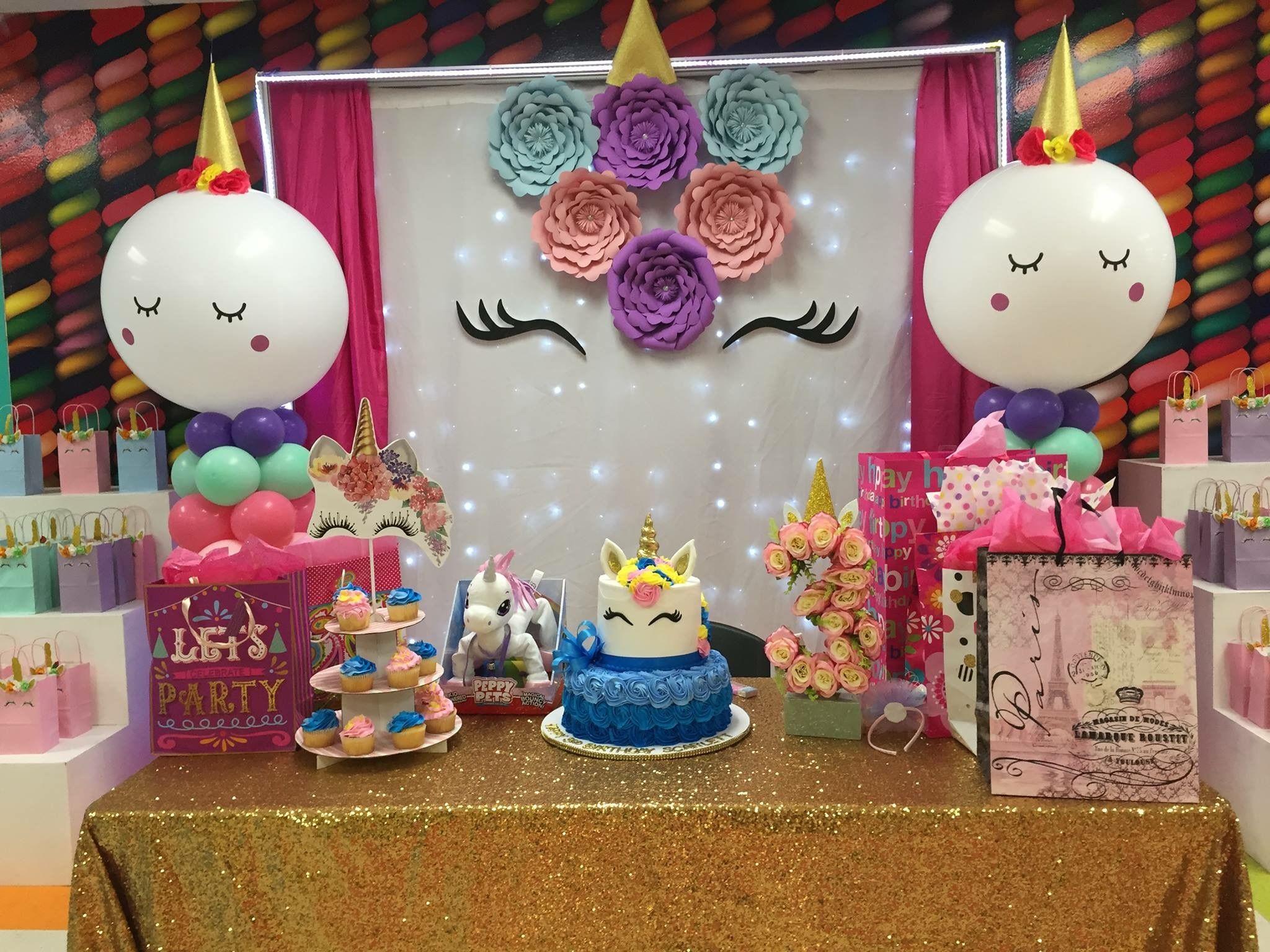 Unicorn backdrop unicorn christening ideas pinterest for Ornamentacion para fiesta de 15
