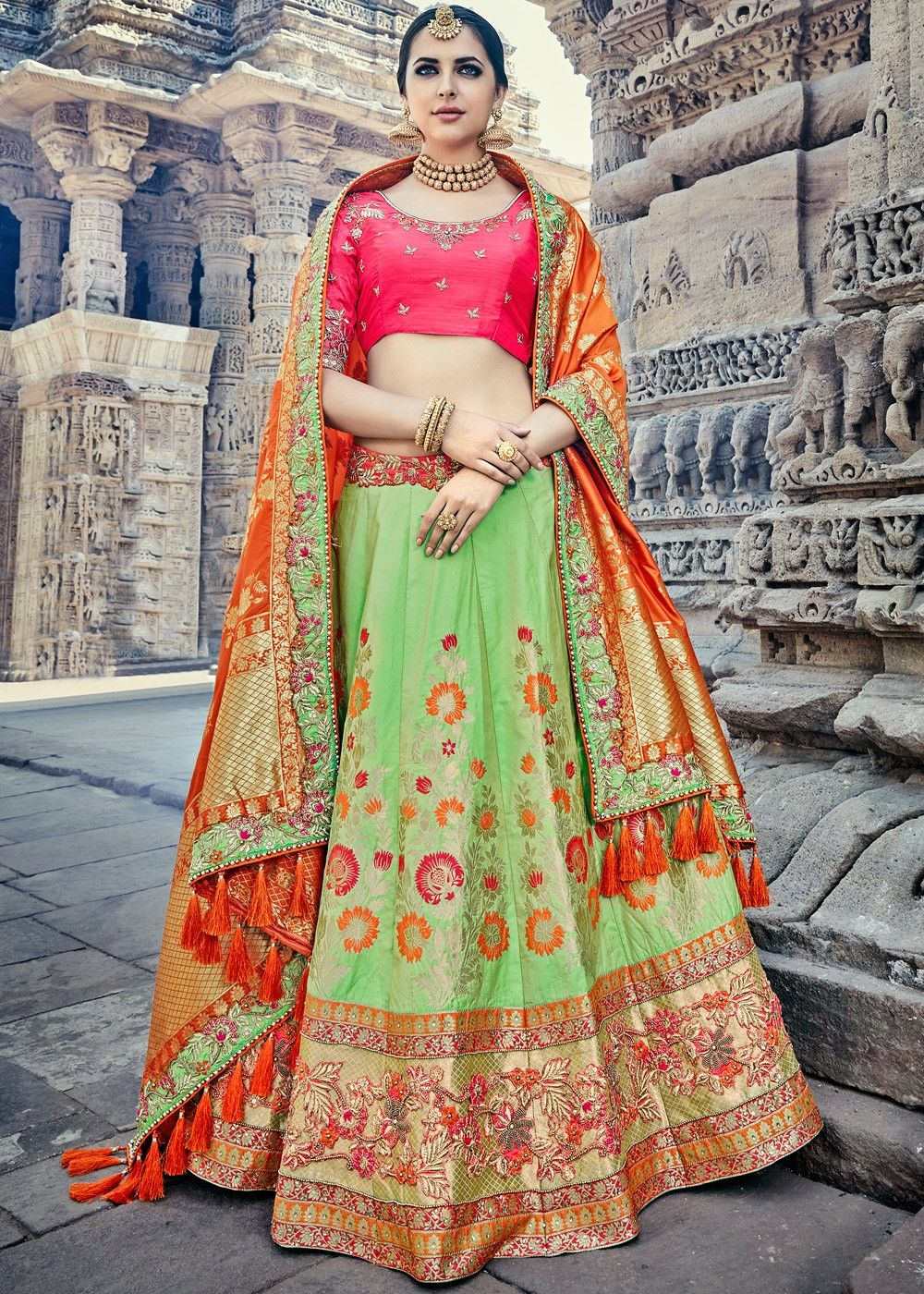 926f331b09 Buy Light Green Bridal Lehenga Choli in Banarasi Silk with Dupatta online,  Work: Beads Work,Stone Work,Woven,Zari, Color: Green, Occassion:  Bridal,Reception ...