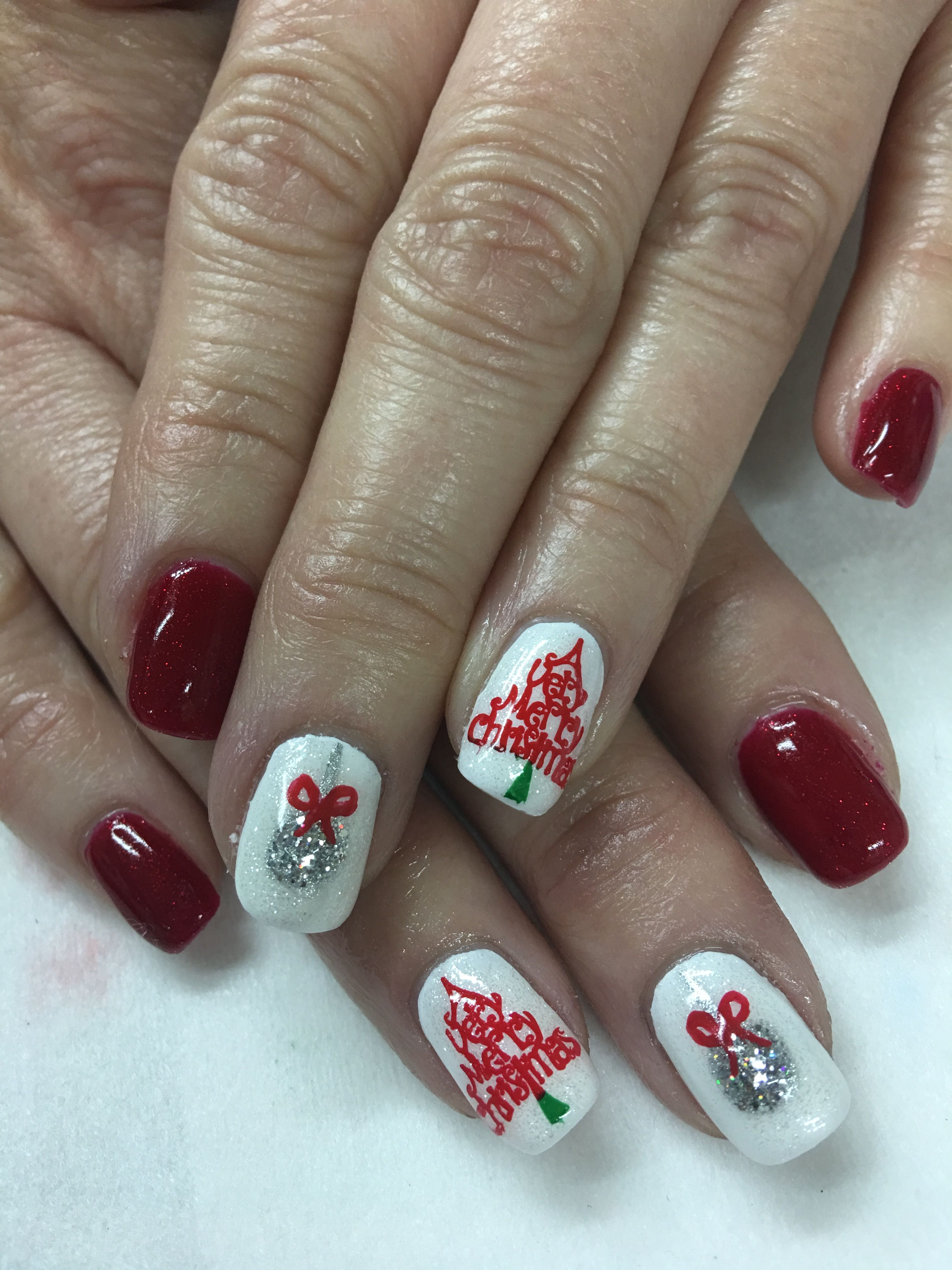 Red Glitter Christmas Tree Ornament Gel Nails Gel Nails Gel Nail Designs Nails