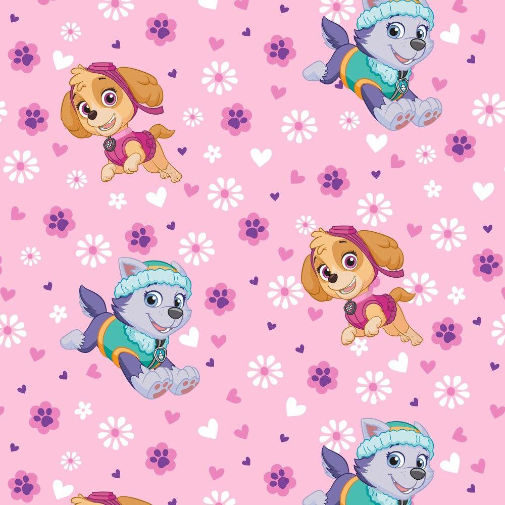 Paw Patrol Party Birthday Wallpaper Aaliyah Girl Fleece Fabric Yard Prints Medium