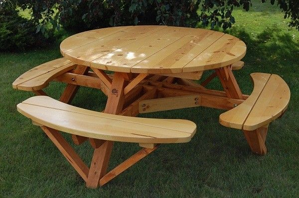 56 Round Picnic Table W Attached Benches Constructed Of White