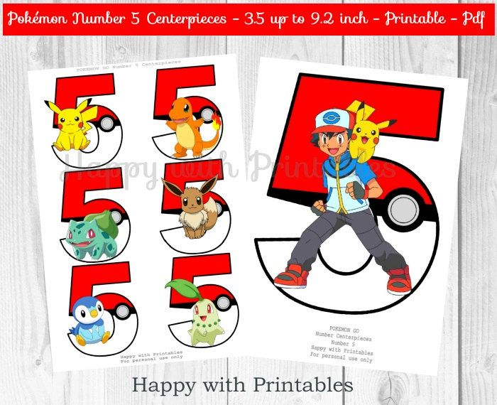 Pokemon GO Number 5 Centerpieces Pokeballs by HappywithPrintables
