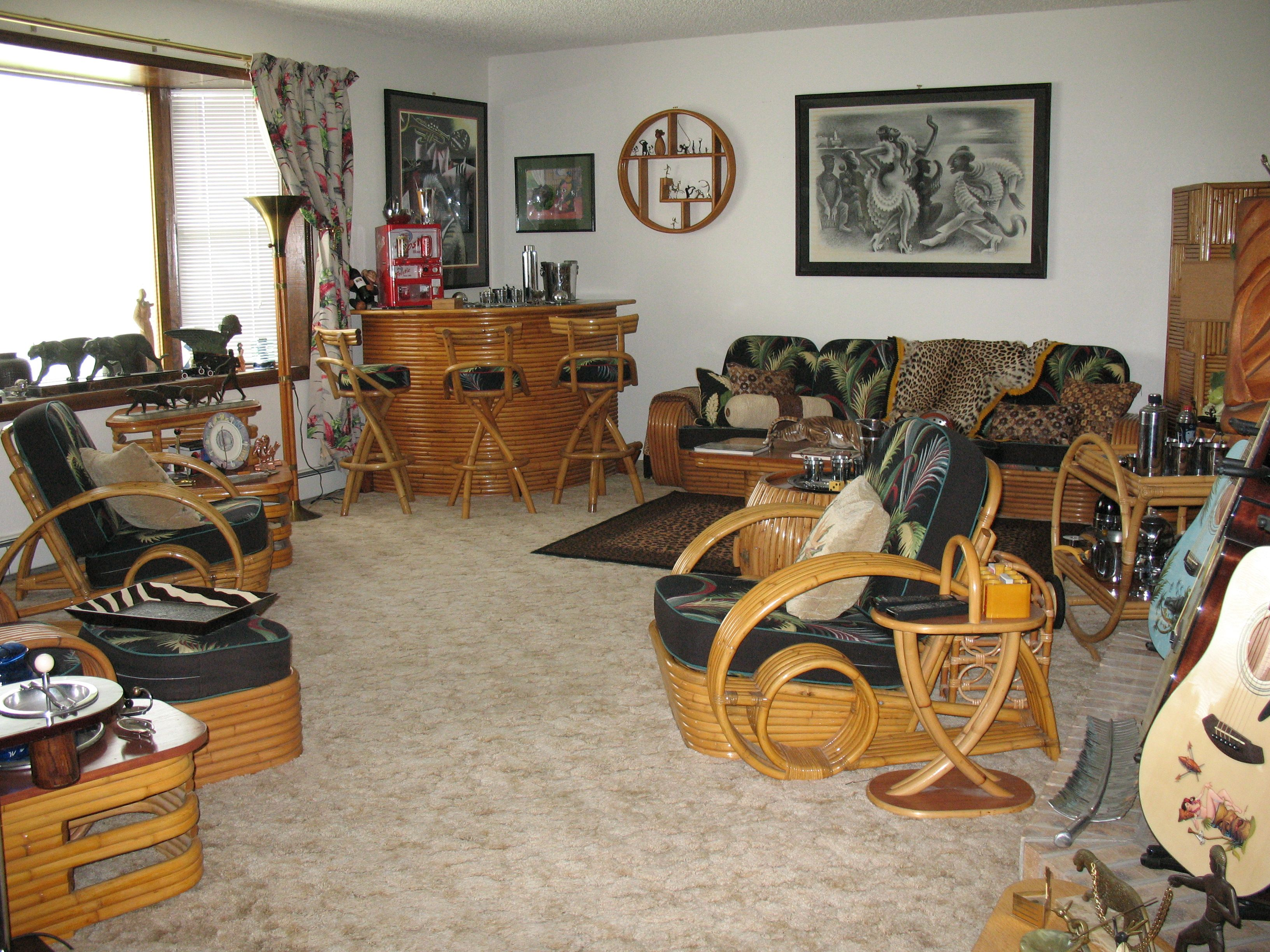 Room Setting Of Rare Frankl Style Vintage Rattan Paul