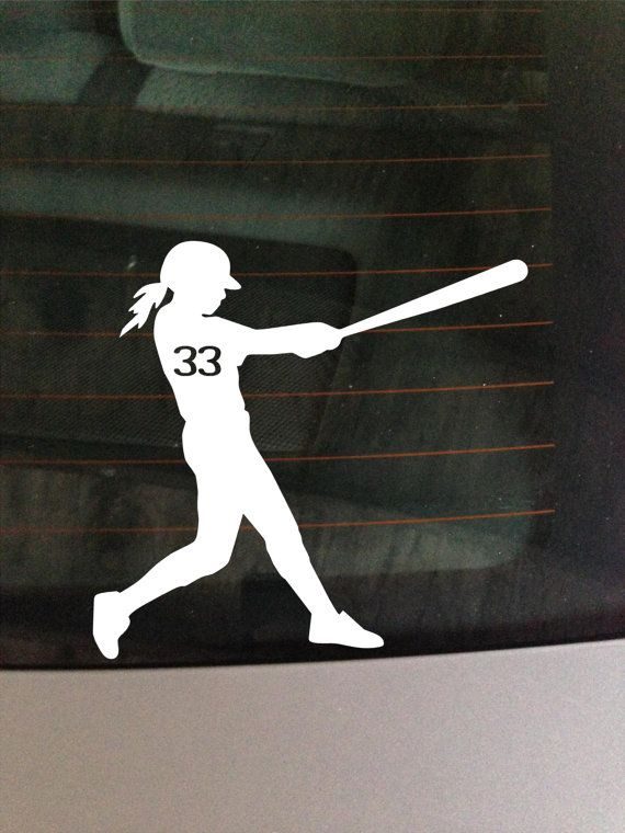 Custom Girl Softball bat white car window by GreenMountainVinyl, $5.00
