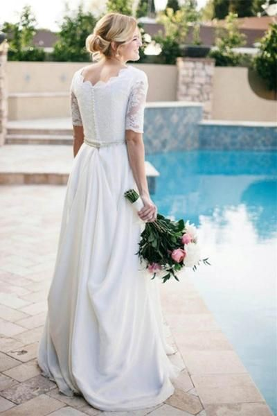 Lace A-Line Beading Ivory Half Sleeve Wedding Dress WD145   Ivory ...