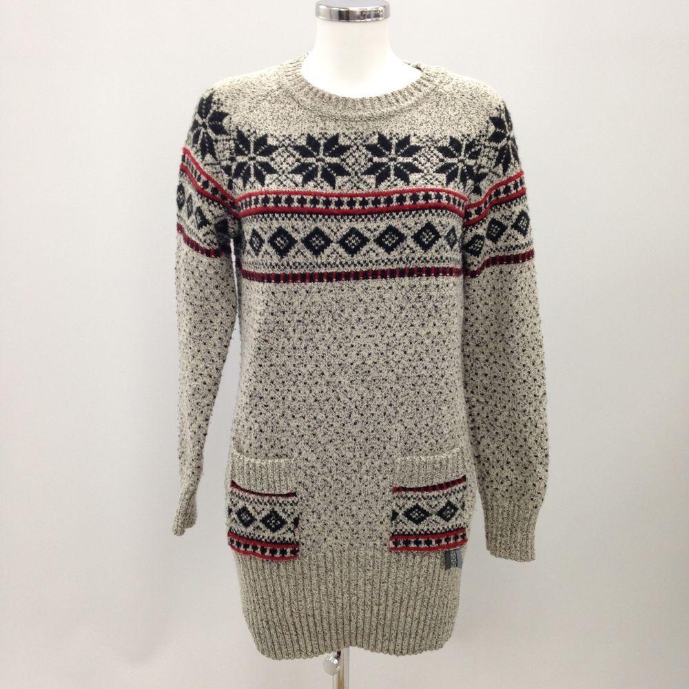 SUPERDRY Vintage Nordic Knit Jumper Dress Wool Blend Stylish