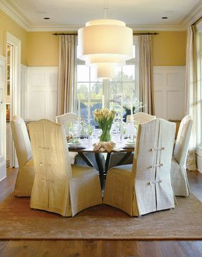 Go Fashion Forward At Home With Dressmaker Details Country Dining Rooms Dining Room Wainscoting Slipcovers For Chairs
