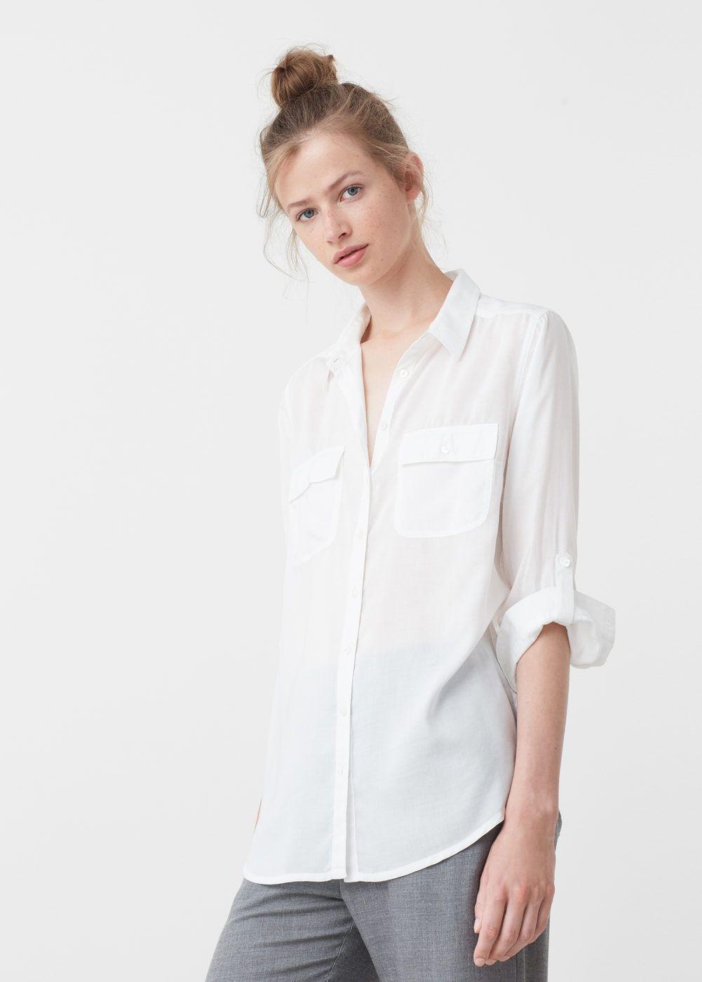 Pockets Flowy Shirt Woman Mango Fashion Clothes For Sale Fashion