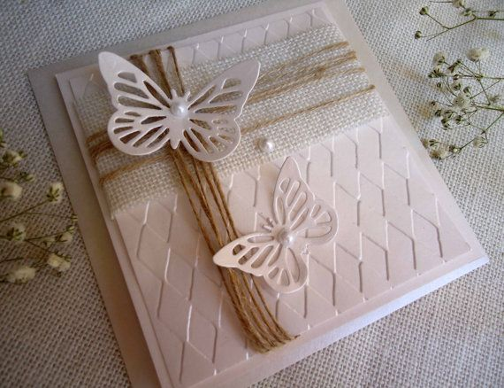 Butterfly Wedding Invitations in white tones with 3D butterflies