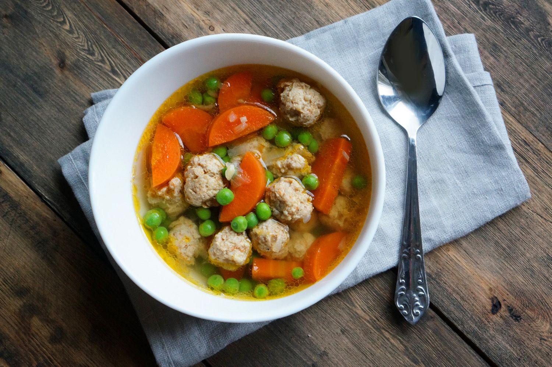 Прозрачный суп с куриными фрикадельками, пошаговый фото ...