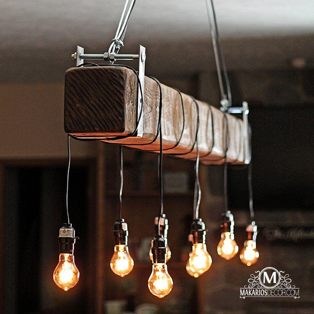 Barnhouse Lighting: Rustic Beam Chandelier In 2019