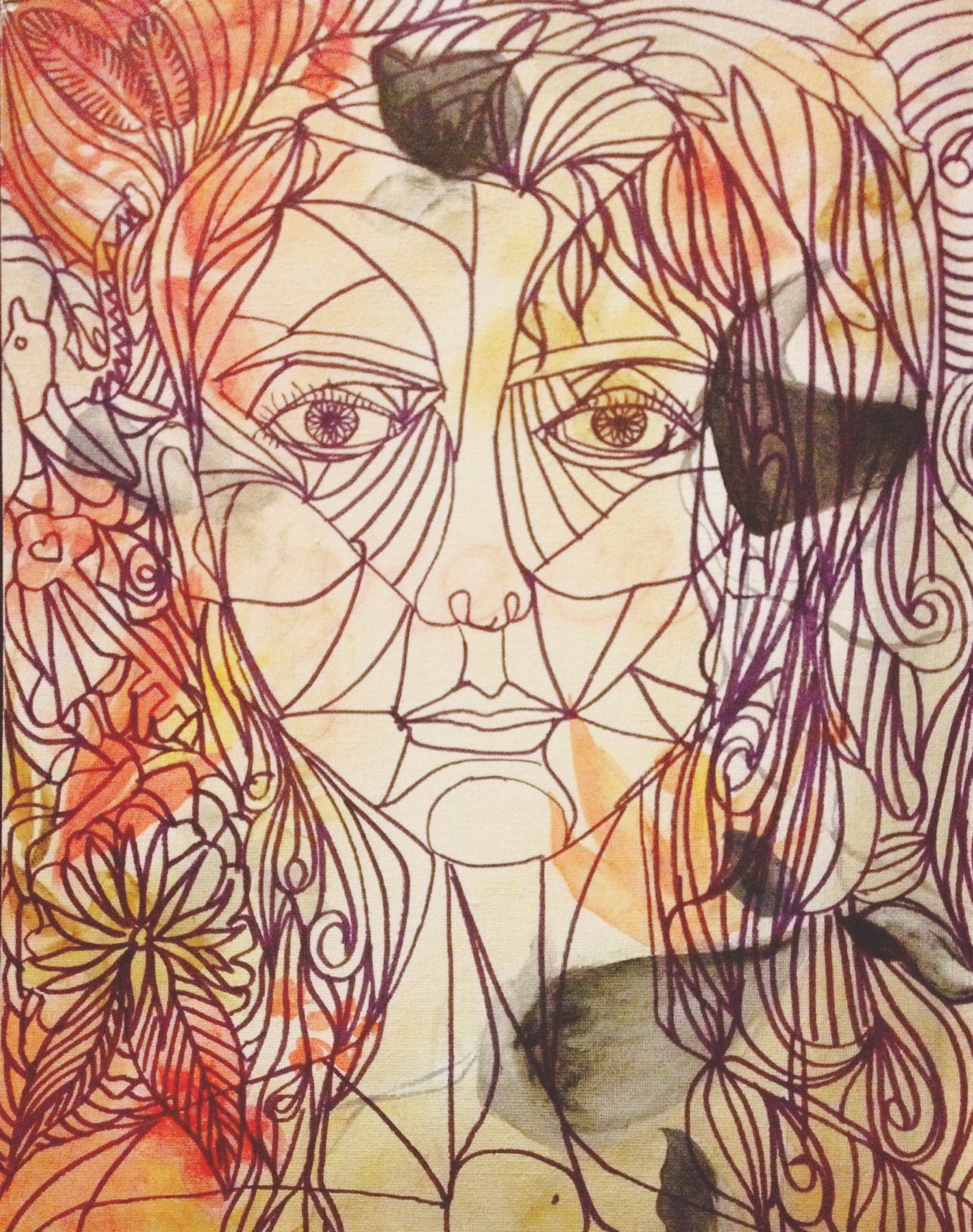 Sharpie Line Drawing Over Top Of An Abstract Floral Painting