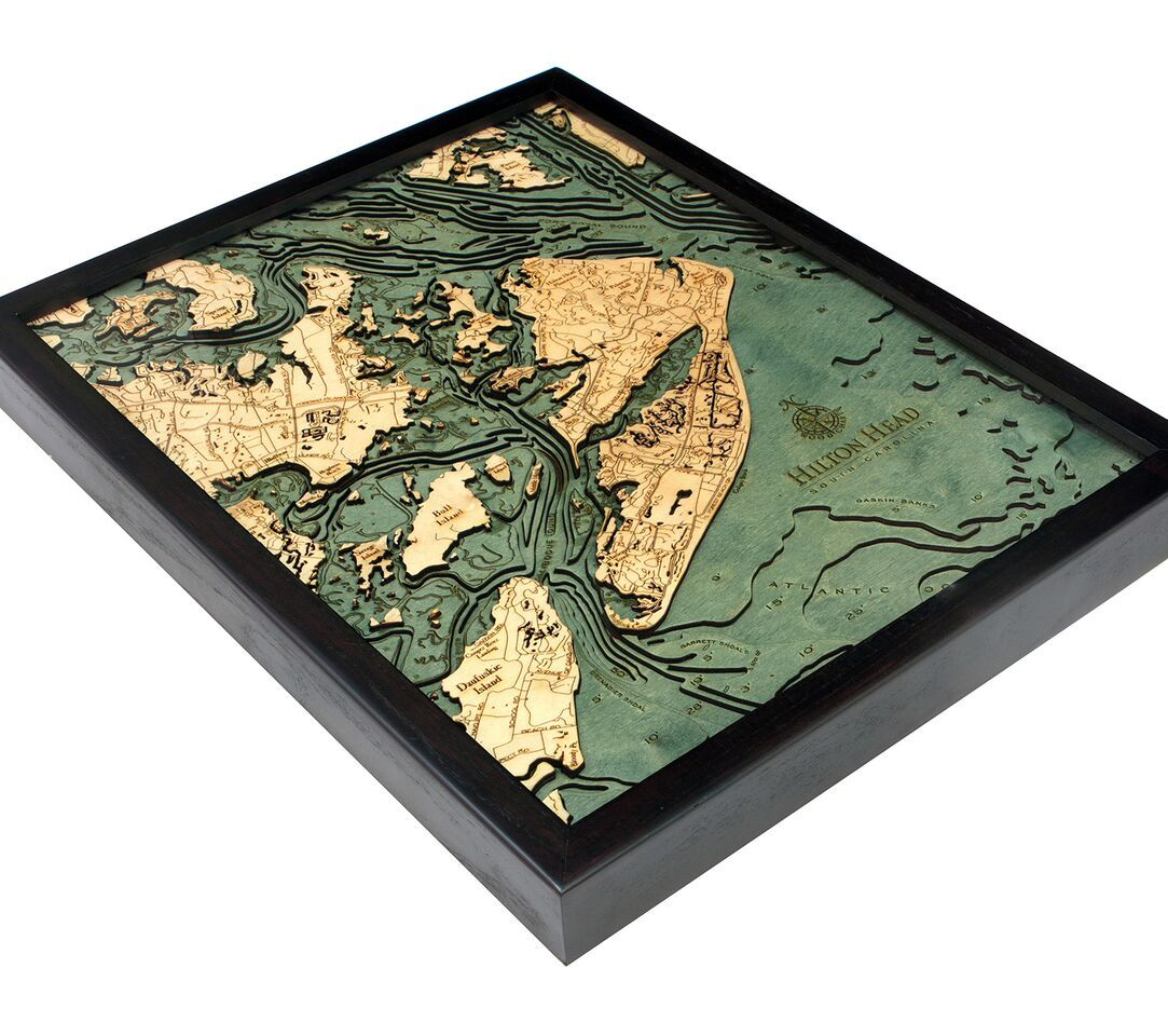 Beautifully engraved 3D map featuring Hilton Head