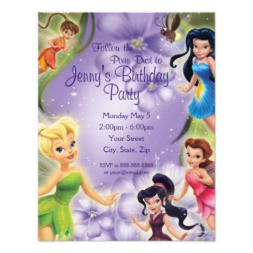 Tinker Bell and Friends Birthday Invitation Custom Invitation