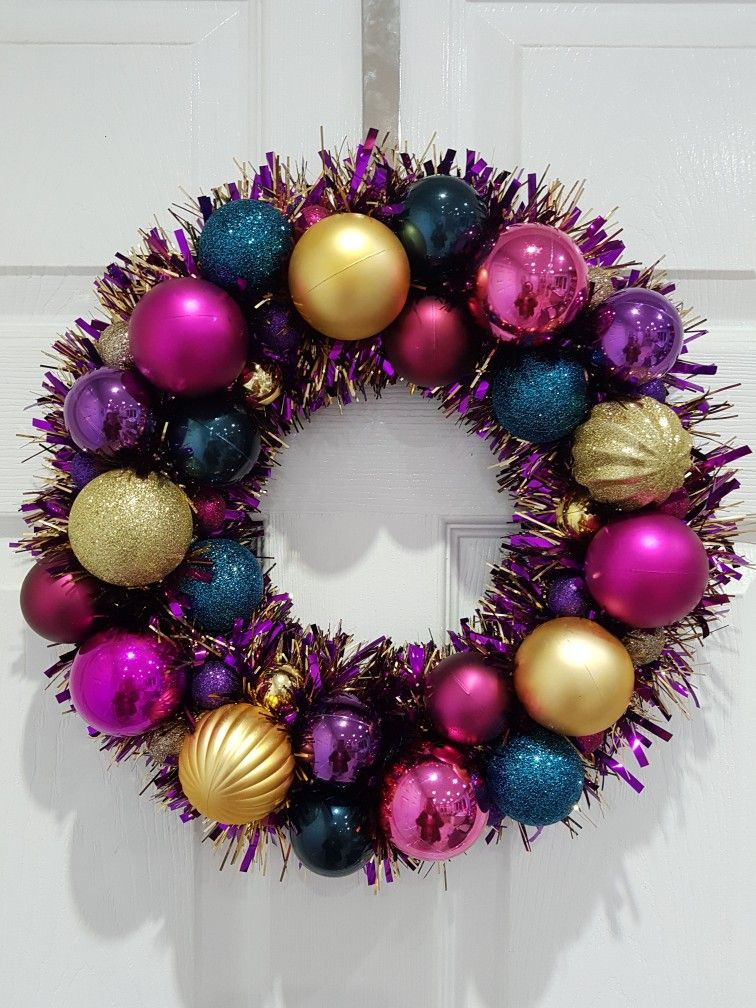 Christmas Wreath Tinsel Wreath Pink Gold Blue Purple Wreath