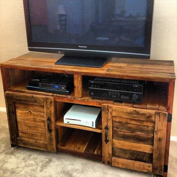 Tv Table With Storage Part - 30: Pallet TV Console Table With Storage