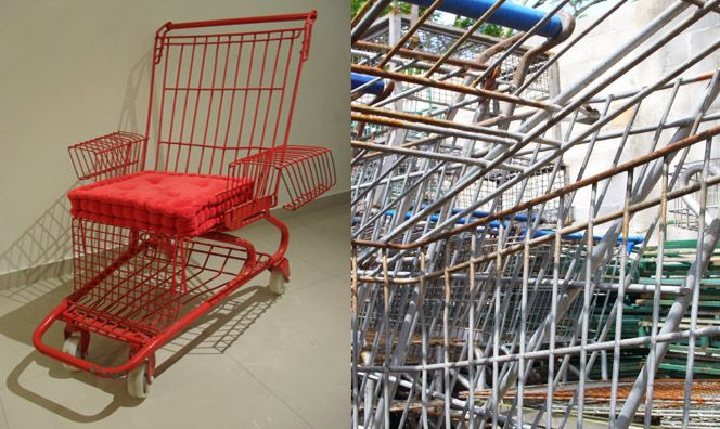Shopping cart turned into red chair, these would be cool around the fire pit roll away from the smoke