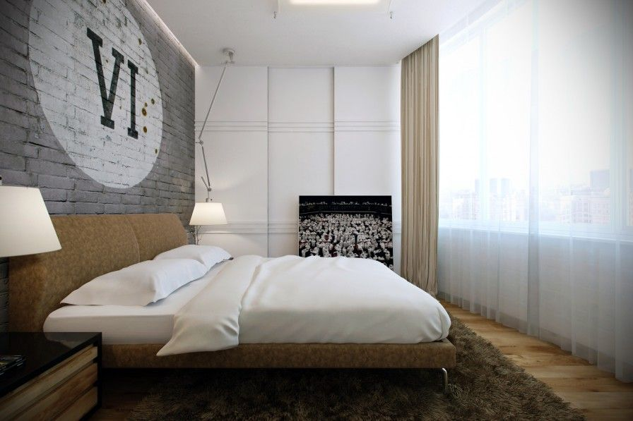 White Pillow Headboard Wooden Flooring Large Brown Fur Rug White Bed Covers Grey Brick Wall Energizing Bedroom Ideas for Teenage Girls Bedroom Interior Bedroom Design Ideas For Small Spaces. Bedroom Decorating Ideas For Small Room. Bedroom Furniture Ideas For Small Spaces.