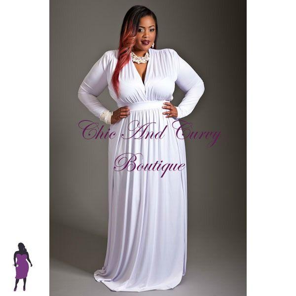 Long white plus size dress. | Plus size dresses | Pinterest