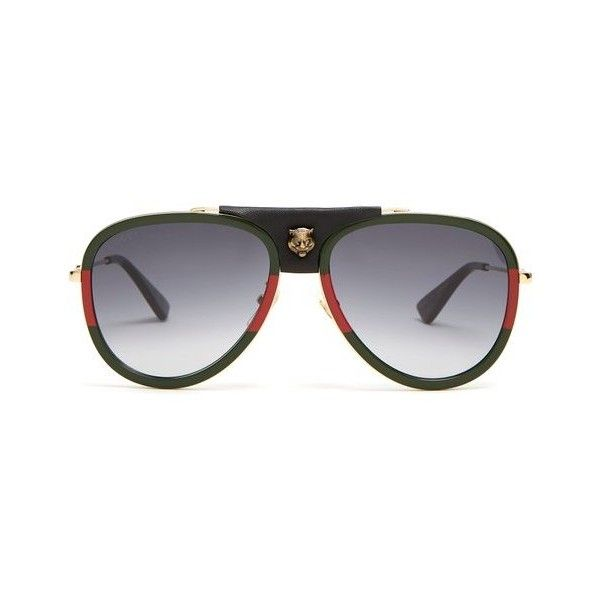 2a81757571d Gucci Aviator striped metal sunglasses ( 425) ❤ liked on Polyvore featuring  men s fashion