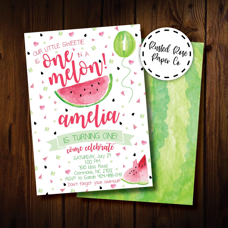Watermelon Birthday Invitation First Girl Invite