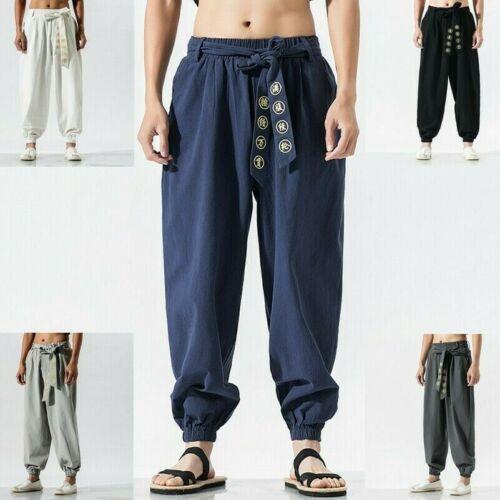 Kung Fu Chino Pantalones De Hombre Pantalon Entrenamiento Wushu Tai Chi Arte Con Cordones Haren Sueltos Ebay Kung Fu Pants Clothes Martial Arts Gear