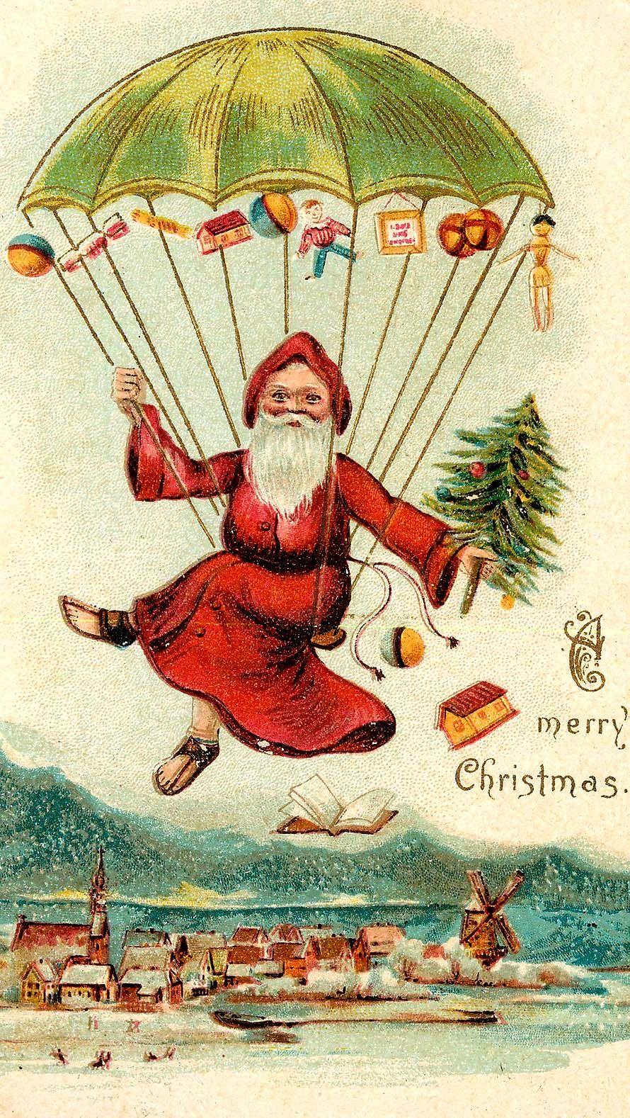 Vintage Christmas Card: Santa dropping gifts from parachute | I ...