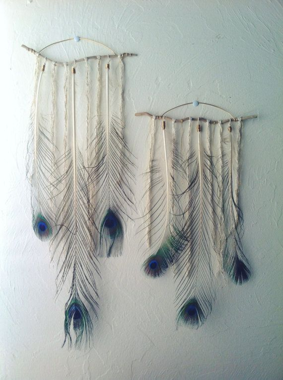Driftwood And Peacock Feather Wall Hanging Large 22 5 35 00 La