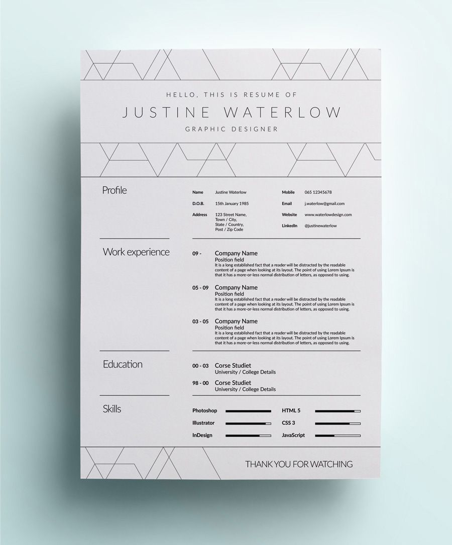 Effective Decoration To Fill A Slim Resume Headline Font Much Nicer Than Body Copy