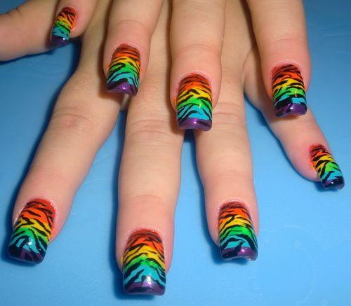 Zebra Rainbow Nail Designs | Easy Nail Art Designs - Zebra Rainbow Nail Designs Easy Nail Art Designs Animal Print
