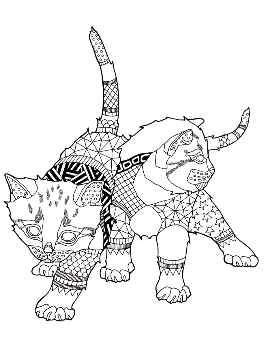 cats coloring page colouring cats dogs zentangles