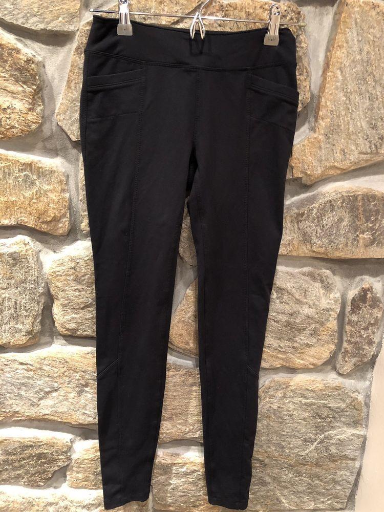 cb4f2385ba645a Athleta Yoga Leggings Black Back Pockets Knit Stretch Pants X-Small ...